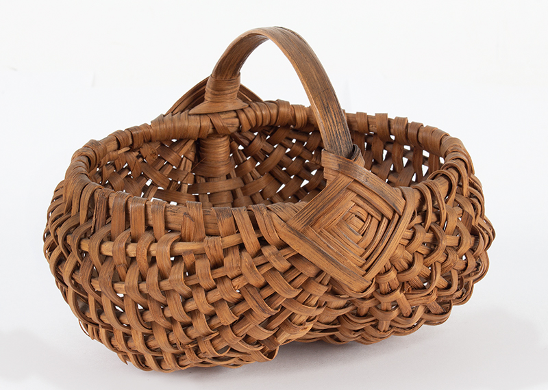 Antique Mellon-Form Splint Wood Basket, Small Size, Diamond Pattern at Handle America, 19th Century, Possibly Pennsylvania, entire view 3