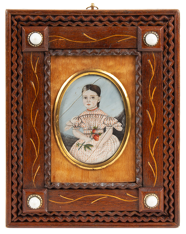 Miniature Portrait of Young Girl, Inspired Unique Carved & Inlayed Frame    Mixed Woods, Watercolor, 19th Century
