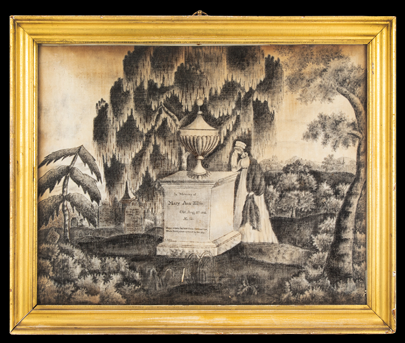 Antique Mourning Painting, Woman at Monument, Watercolor on Velvet In Memory of Mary Ann Ellis – Obit. Aug. 8th – 1815 – AE. 14. – By C. Ellis, entire view
