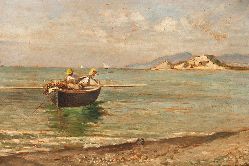 Antique Painting, Fisherman in Dory Anonymous, Late 19th Century, scene view