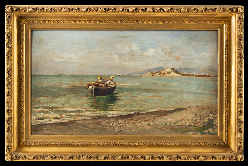 Antique Painting, Fisherman in Dory Anonymous, Late 19th Century, entire view
