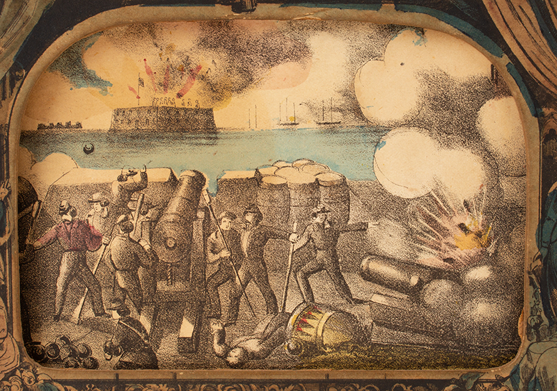 Antique Myriopticon, Panorama, Civil War Battle Scenes, Milton Bradley  Likely Milton Bradley, Roll Published by Currier and Ives, 152 Nassau Street, New York (1872-1874), scene 1