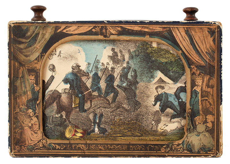 Antique Myriopticon, Panorama, Civil War Battle Scenes, Milton Bradley  Likely Milton Bradley, Roll Published by Currier and Ives, 152 Nassau Street, New York (1872-1874), entire view 1