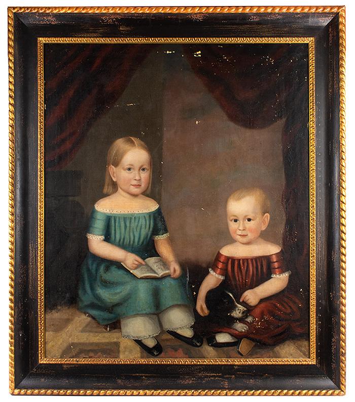 Robert Deacon Peckham (1785-1877) Portrait of Children and Pet Dog