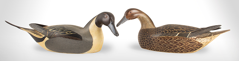 Pair of Pintail Duck Decoys by Heck Wittington (1907-1981) Vintage Stamped Pair, entire view