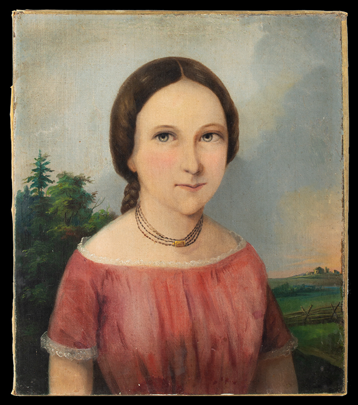 Antique Portraits of Older and Younger Sisters, Small Format  On the verso, a statement: Painted by Charles Gruener, Buffalo NY (1852-1854), potrait 1 entire view