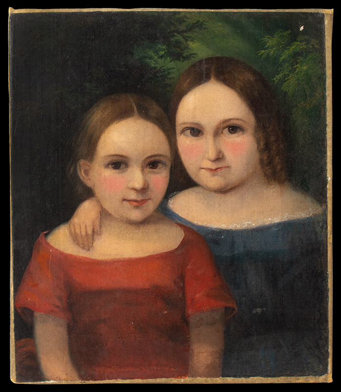 Antique Portraits of Older and Younger Sisters, Small Format  On the verso, a statement: Painted by Charles Gruener, Buffalo NY (1852-1854), potrait 2 entire view