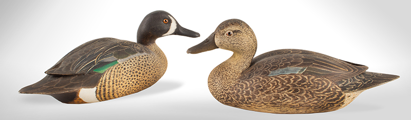 Pair of Blue Wing Teal Decorative Duck Carvings by Harold Haertel (1904-1995), entire view