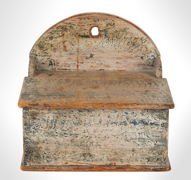 Antique Salt Box, Hanging, Original Blue-Green Paint on White Ground Pennsylvania, Circa 1810-1830, entire view 1
