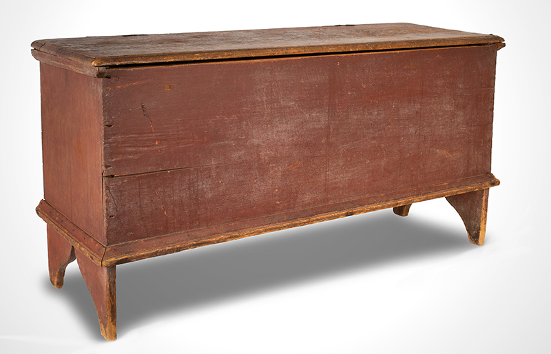 antique blanket chest or board chestin original red paint, New England 1740