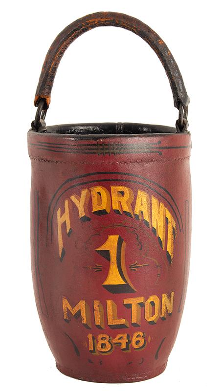 Antique Leather Fire Bucket, Milton, Massachusetts, Hydrant 1, 1846, entire view