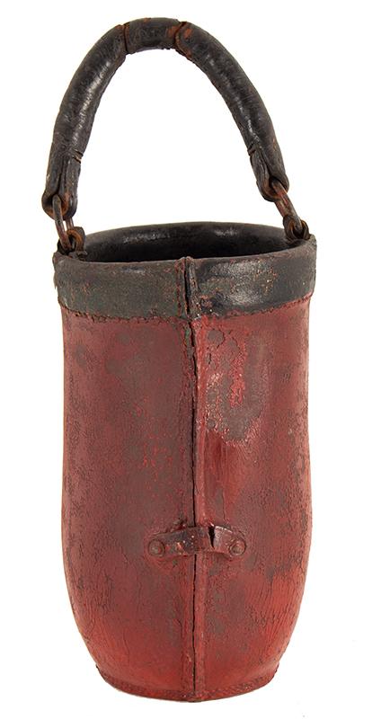 Antique Leather Fire Bucket, Milton, Massachusetts, H&L 1, 19th Century, back view