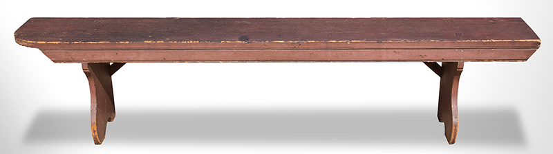 Antique Bench in Original Raspberry Red Paint, Functional Seating or Display Possibly Pennsylvania, Circa 1835, entire view 1
