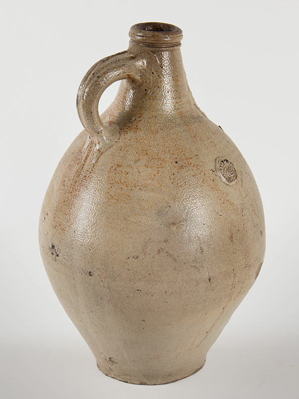 Antique Salt Glazed Stoneware Ovoid Jug, Bellarmine Graybeard  Probably Frechen, Germany, 17th Century Applied mask and three medallions, tooled spout and ribbed handle, entire view 3