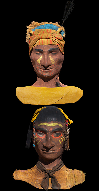 Vintage Paper Mache Decorative Native American Plaques Anonymous, Probably Unique, pair view