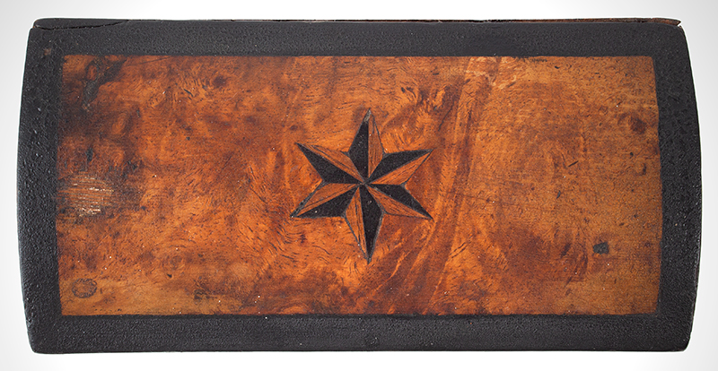 Antique Miniature Compass Star-Inlayed Dome-Top Box  Likely England, circa 1820  Walnut Burlwood, star detail