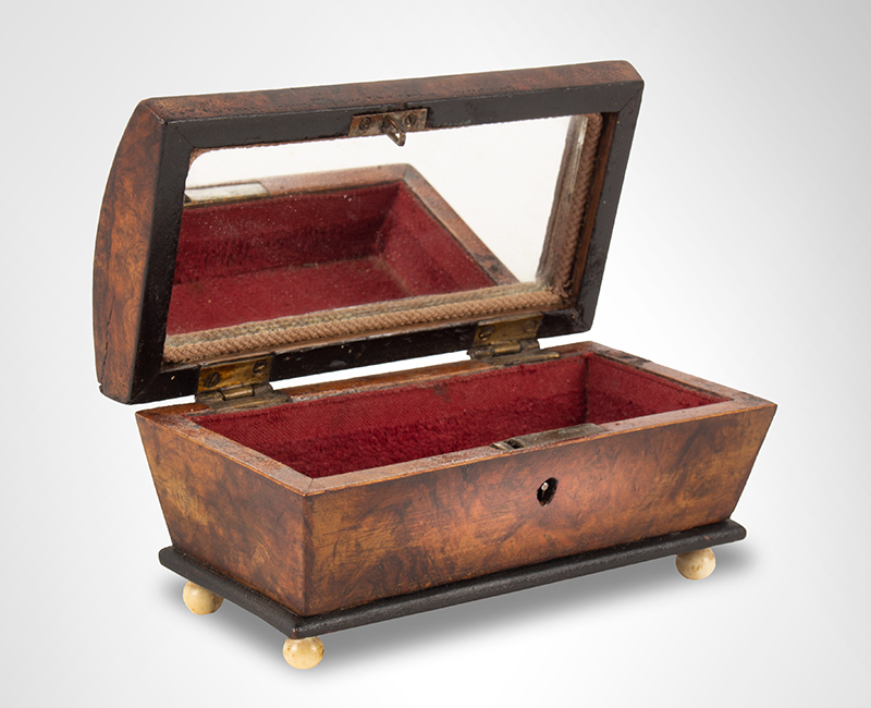 Antique Miniature Compass Star-Inlayed Dome-Top Box  Likely England, circa 1820  Walnut Burlwood, open view