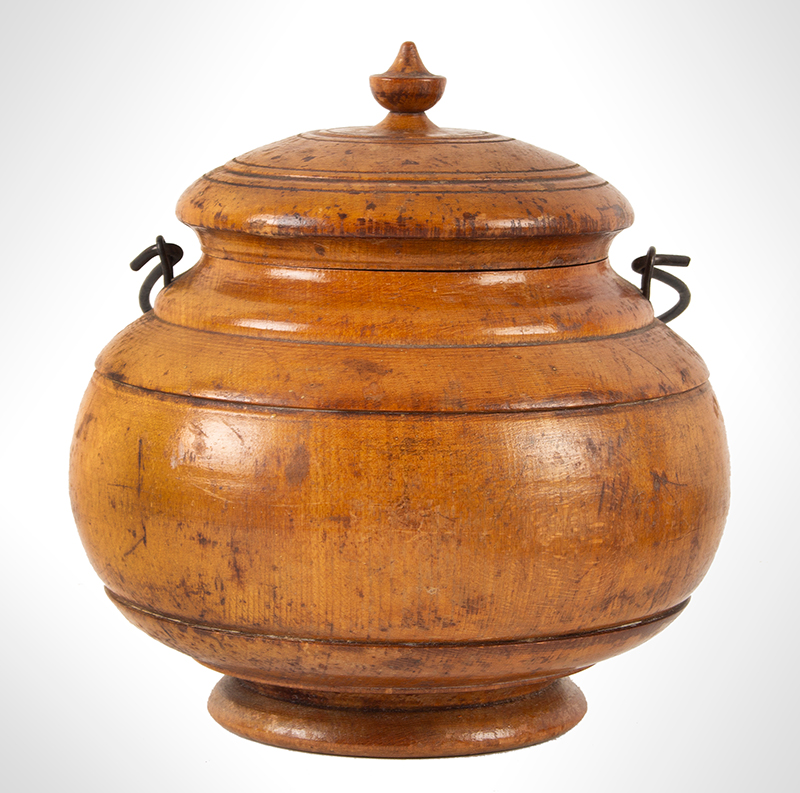 Antique Treenware, Covered Container, Urn Finial, Wire Bale Handle Ohio Peaseware, circa 1870 Maple, entire view 1