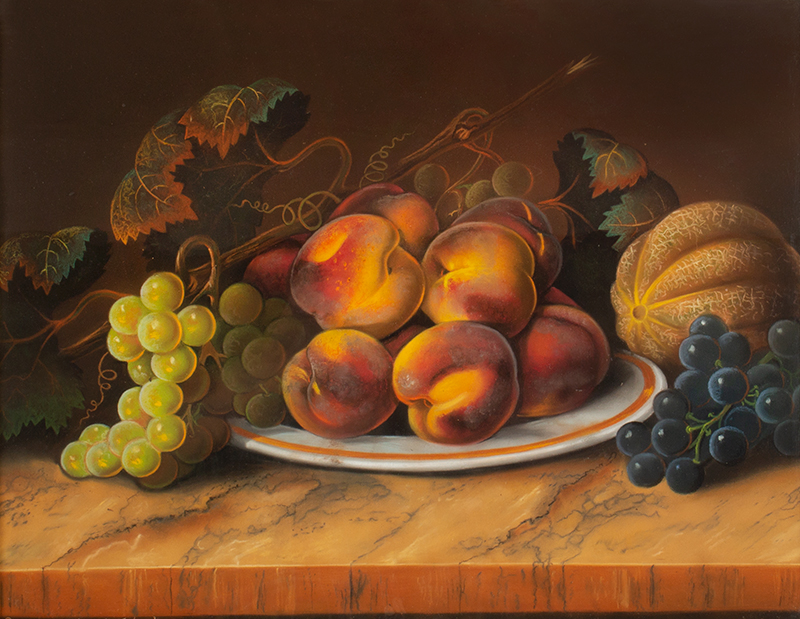 Still Life with Fruit, Pastel on Paper, American School, 19th Century Signed 'Painted by Selina M. Johnston', entire view sans frame