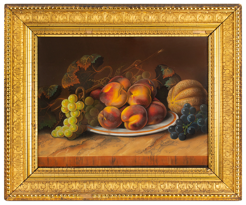 Still Life with Fruit, Pastel on Paper, American School, 19th Century Signed 'Painted by Selina M. Johnston', entire view