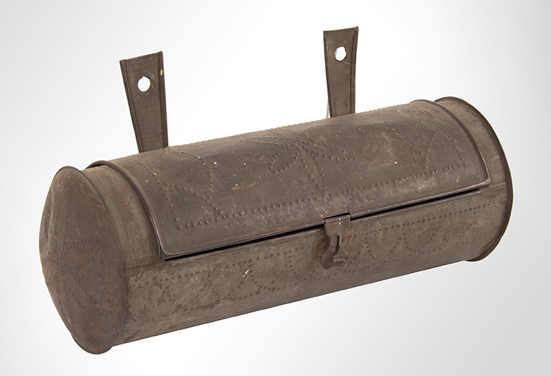 Antique, Tinned Sheet Iron Hanging Cylindrical Candle Box, Punch Decorated  American, Circa 1830-1860, entire view 1