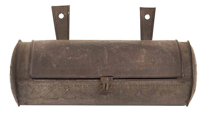 Antique, Tinned Sheet Iron Hanging Cylindrical Candle Box, Punch Decorated  American, Circa 1830-1860, entire view 2