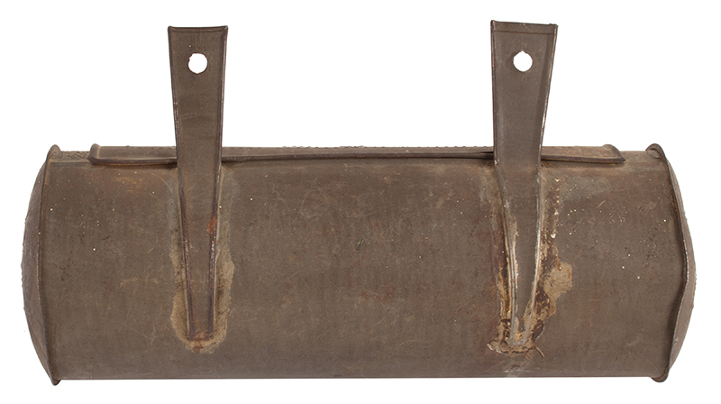 Antique, Tinned Sheet Iron Hanging Cylindrical Candle Box, Punch Decorated  American, Circa 1830-1860, entire view 3