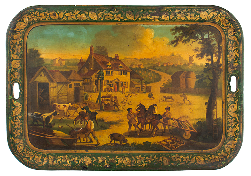 Antique Tray, Detailed Expertly Painted Rural Scene, Country Life, Elaborate Stenciled Flange England, circa 1820, entire view