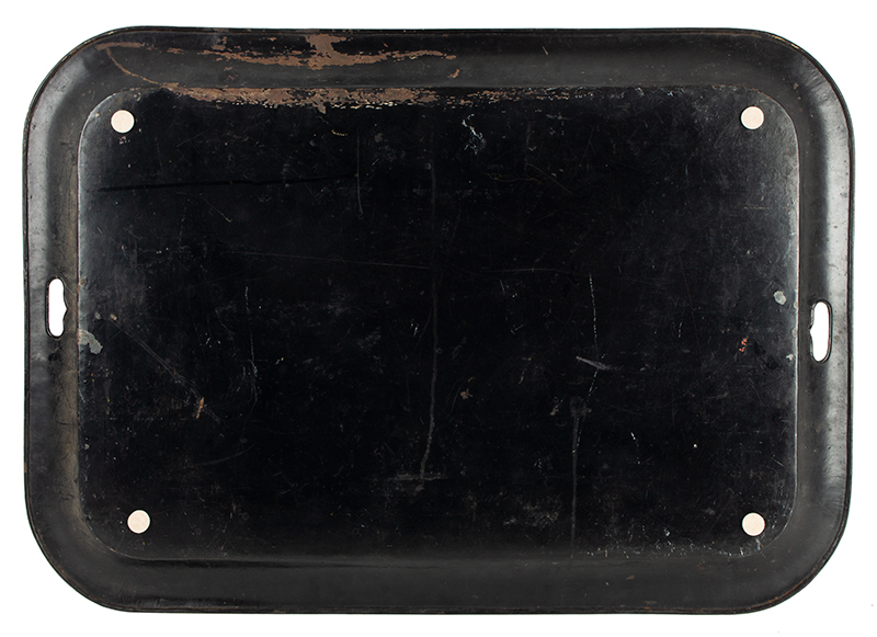 Antique Tray, Detailed Expertly Painted Rural Scene, Country Life, Elaborate Stenciled Flange England, circa 1820, back view