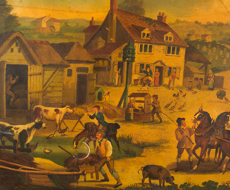 Antique Tray, Detailed Expertly Painted Rural Scene, Country Life, Elaborate Stenciled Flange England, circa 1820, detail view 1