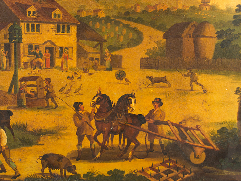 Antique Tray, Detailed Expertly Painted Rural Scene, Country Life, Elaborate Stenciled Flange England, circa 1820, detail view 2