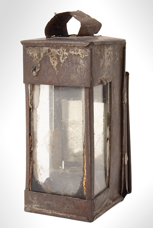 Antique Traveling Lantern, Sheet Iron, Mirrored Back, Folding Handle Unknown Maker, 19th Century, entire view