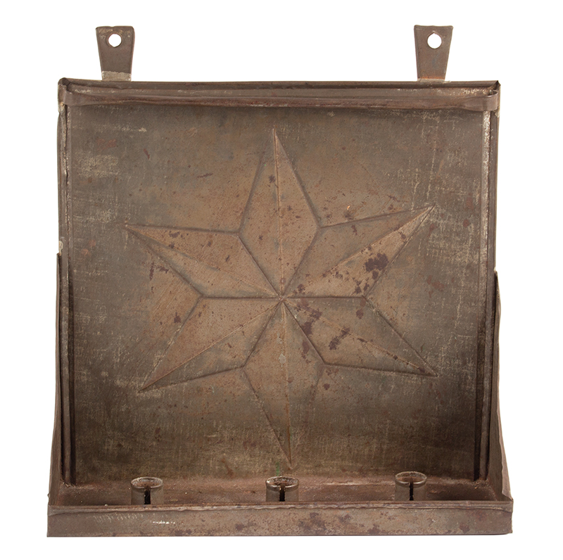 Antique Triple Socket Candle Sconce, Raised Star Back, Hanging Rod for Dowser American, Possible Pennsylvania, Circa 1830-1870 Tinned sheet iron, crimped and folded border edges, tabbed sockets, entire view 2