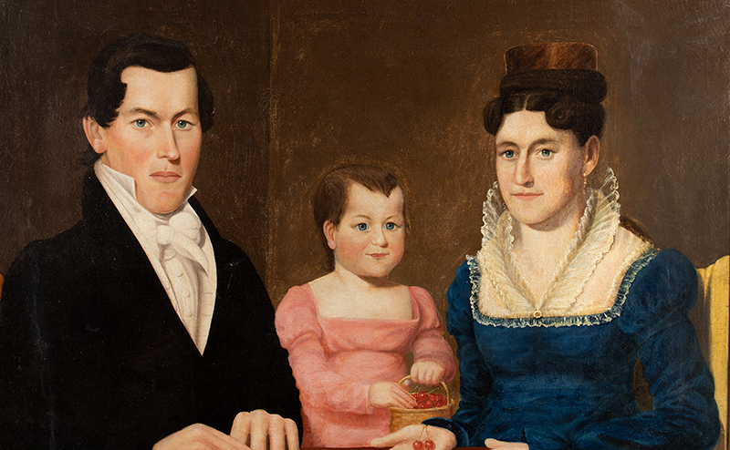 American Folk Art, Triple Portrait, Half-length New England, Circa 1830s Anonymous, entire view sans frame