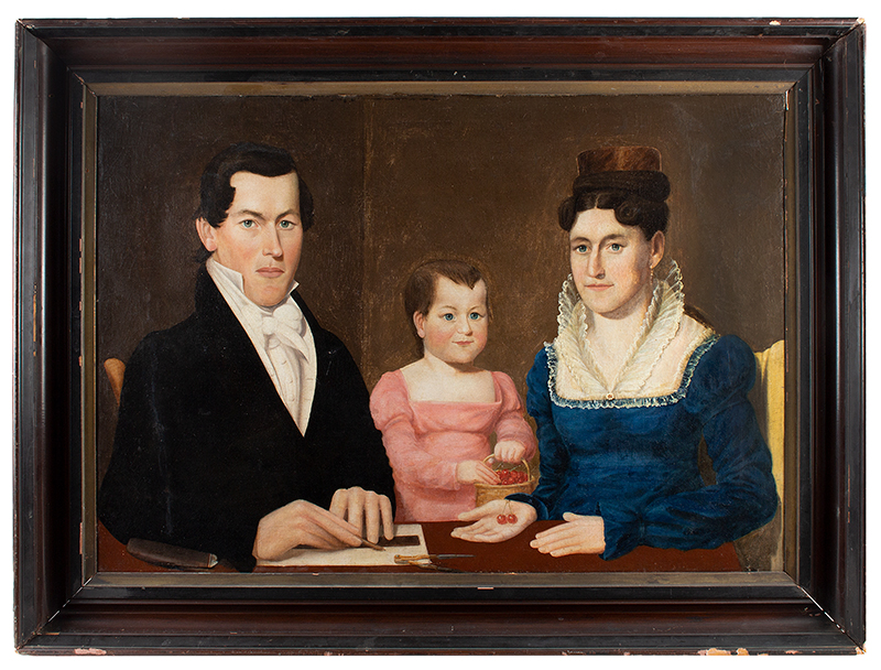 American Folk Art, Triple Portrait, Half-length New England, Circa 1830s Anonymous, entire view