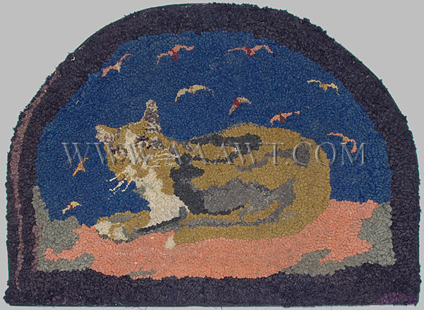 Antique Hooked Rug, Cat and Seagulls, Demilune, entire view