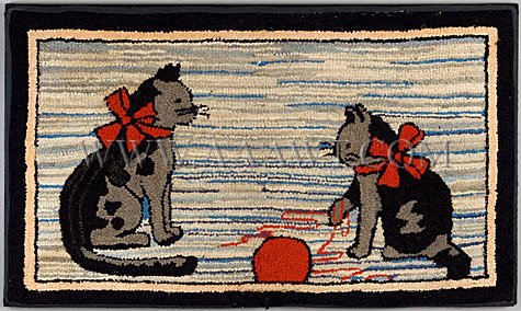 Antique Hooked Rug, Kittens with Ball of Yarn, entire view
