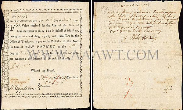 Massachusetts Bay Bounty Note Dated 1777, entire view