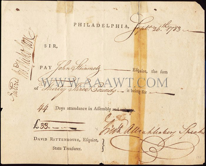 Pay Voucher for Pennsylvania Assembly, 1783, entire view