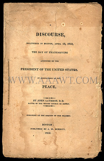 Pamphlet Day of Thanksgiving Commemorating End of War of 1812, entire view