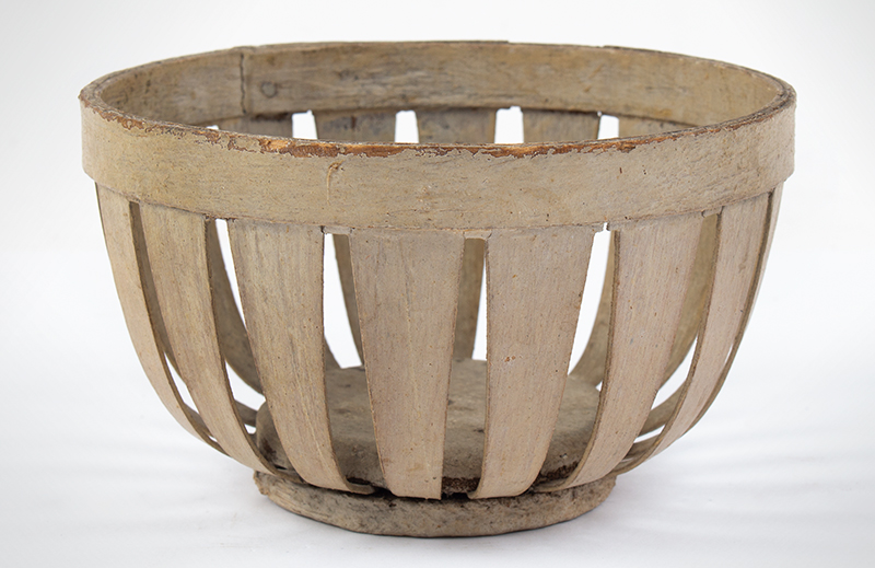 Antique, Small Bentwood Basket, Original Oyster White Paint, entire view 1