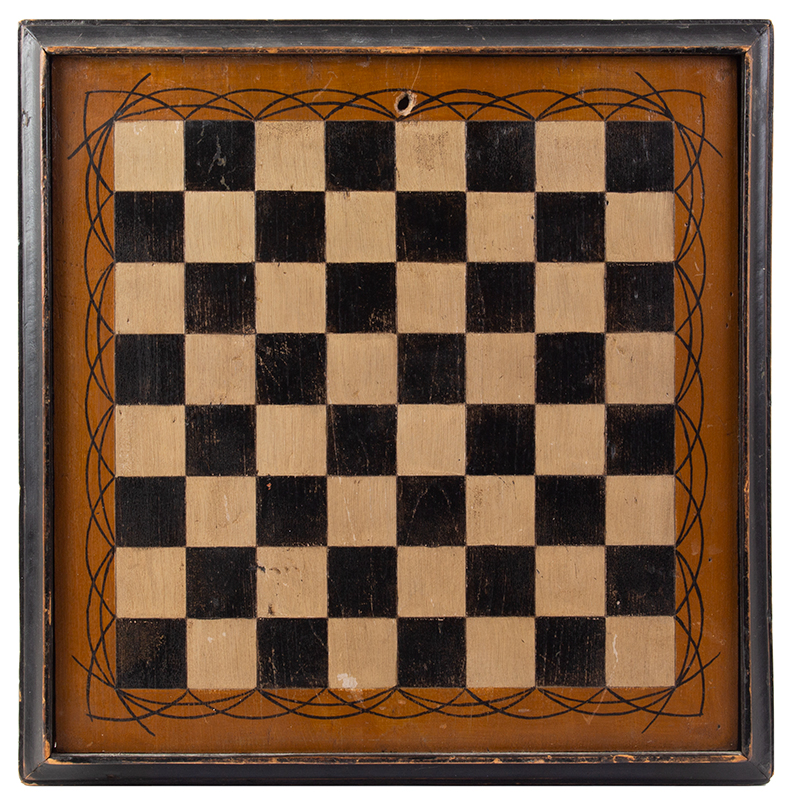 Antique Gameboard, Checkers, Three-Color, entire view