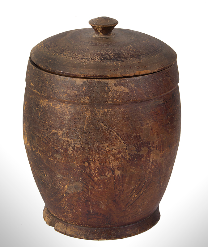 Treenware Jar, Covered, Enormous Ovoid Form, Original Paint, entire view 1