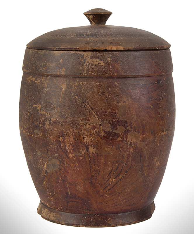 Treenware Jar, Covered, Enormous Ovoid Form, Original Paint, entire view 2