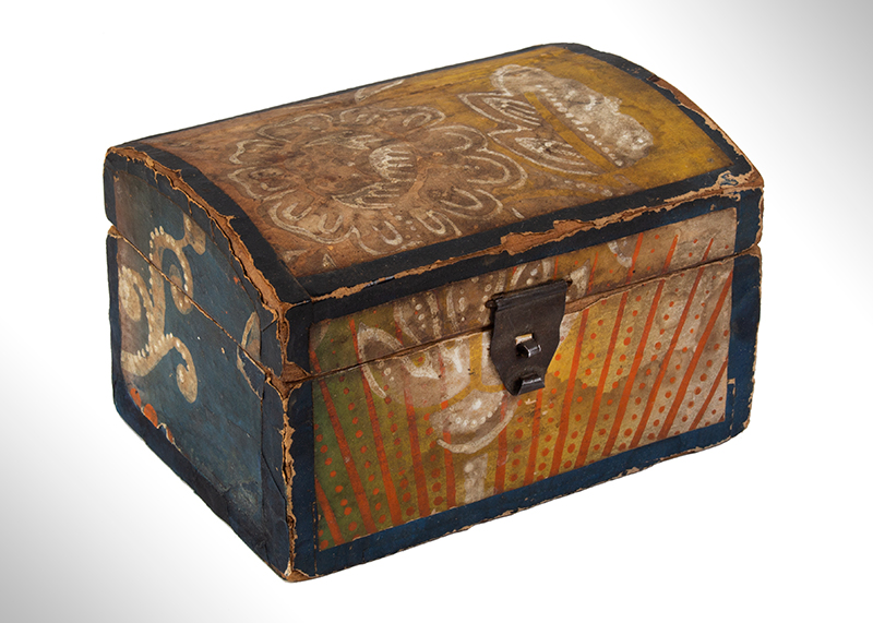 Wallpapered Miniature Dome Top Trunk, Pennsylvania, entire view 1