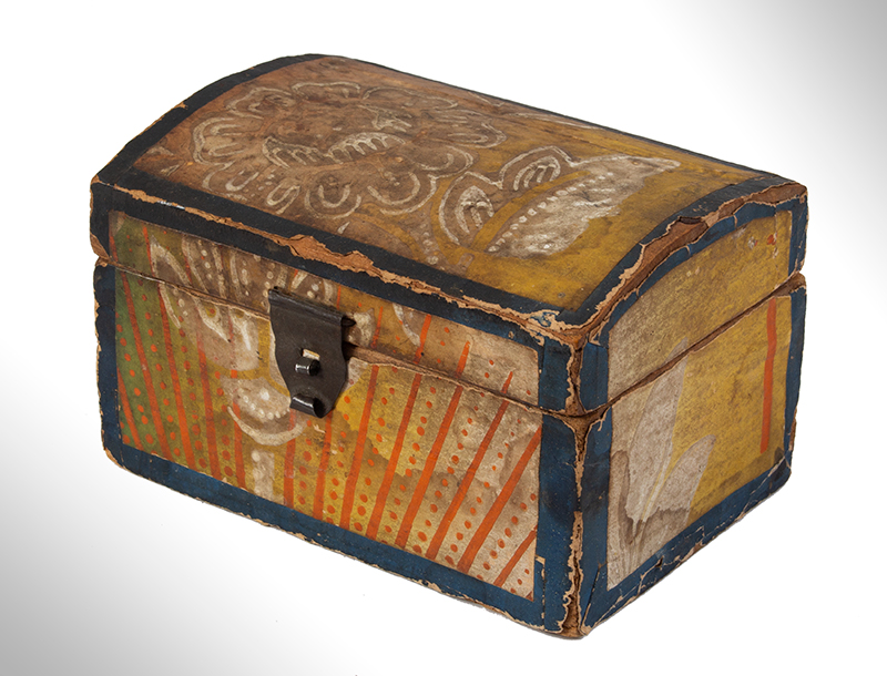 Wallpapered Miniature Dome Top Trunk, Pennsylvania, entire view 2