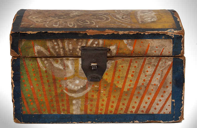 Wallpapered Miniature Dome Top Trunk, Pennsylvania, entire view 3
