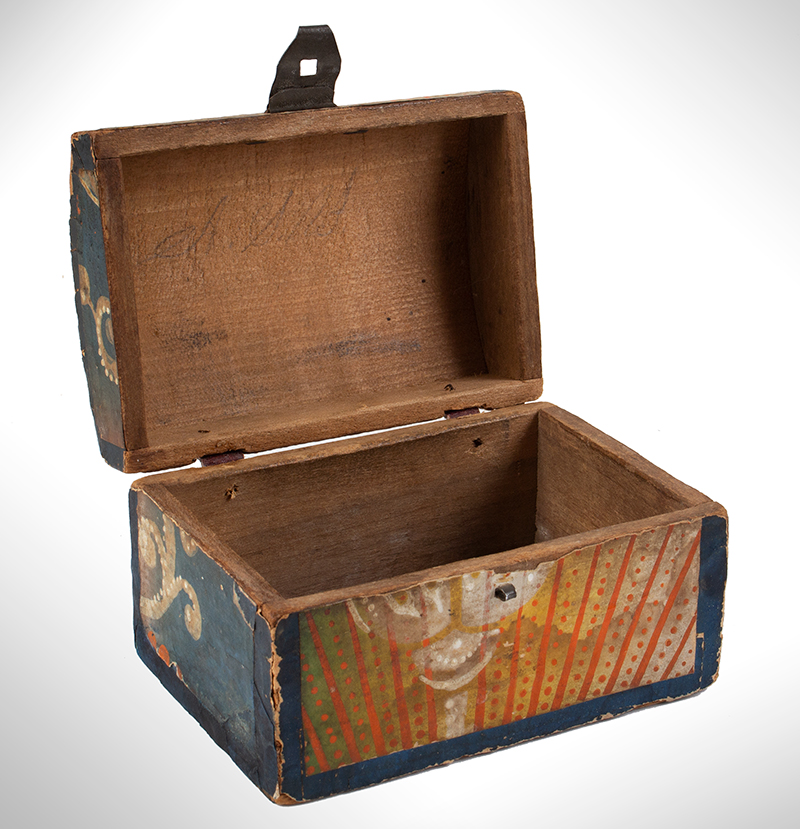 Wallpapered Miniature Dome Top Trunk, Pennsylvania, entire view 7