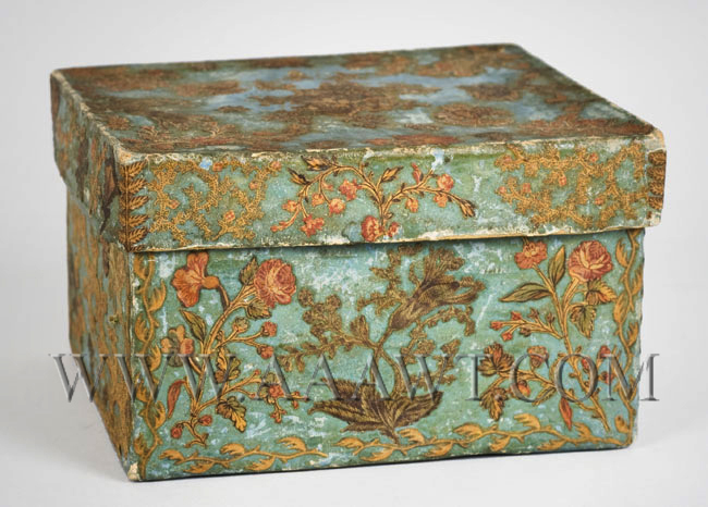 Nineteenth Century Blue Paper-Covered Cardboard Box, Fabric Decoupaged, entire view