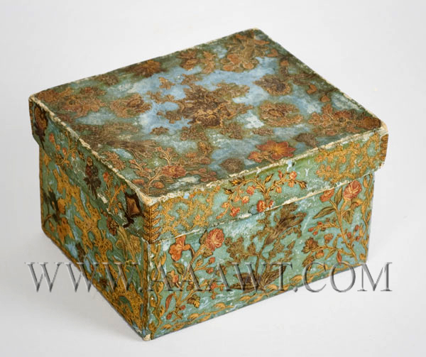 Nineteenth Century Blue Paper-Covered Cardboard Box, Fabric Decoupaged, entire view 2